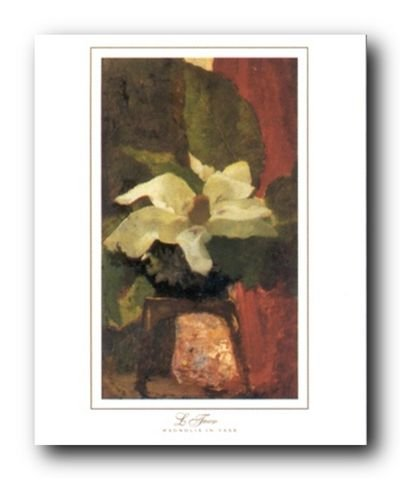 Martin Johnson Heade Magnolia (White Magnolia Flower Wall Decor Floral in Vase Picture Martin Johnson Heade Art Print Poster (16x20))