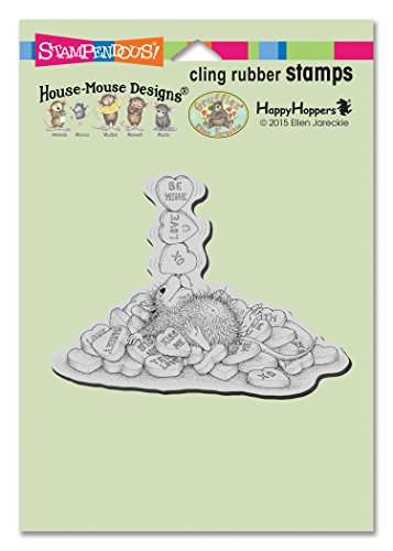 STAMPENDOUS House Mouse Cling Rubber Stamp Balancing Hearts