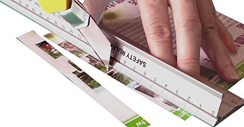 Ruler  New Design 30 Cm  12 Inch  Metal Craft Safety Ruler Light Weight With Folding Safety Guard Use With Rotary Cutter Stanley Or Xacto  For Paper Leather Fabric Quilting Scrap Booking Art Office