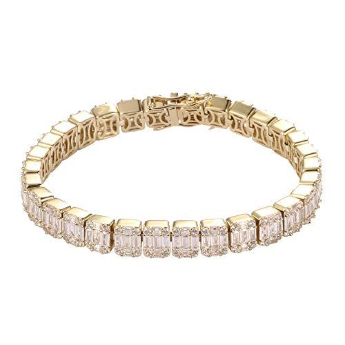 GOLD IDEA JEWELRY Mens Tennis Bracelet 14k 8.5mm Baguette Cubic Zirconia Bracelet 8 - Bracelet Baguette Tennis