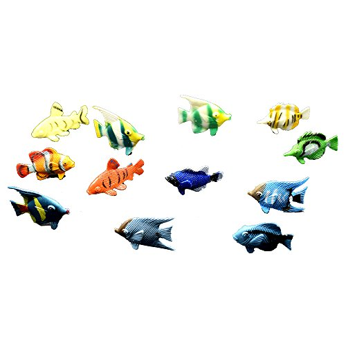 Adam Victor Under the Sea Plastic Sea Life Creatures, 12 Pcs Colorful Mini Fish Toys Set, Vinyl Plastic Learning Educational Party Favors Toy for Boys Girls, Christmas Gifts for Kids (Sea Life Miniatures)