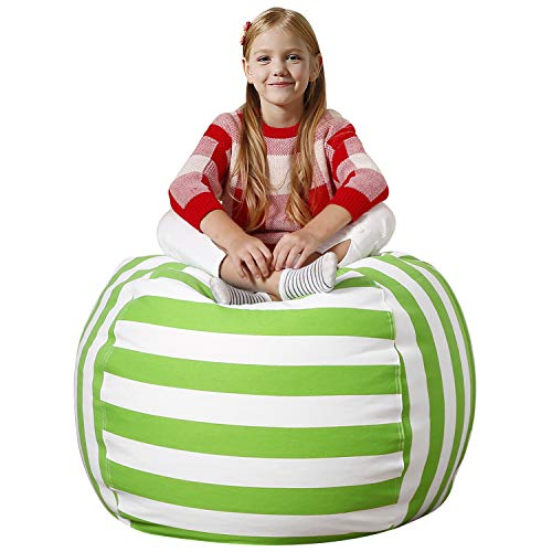 (Aubliss Stuffed Animal Bean Bag Storage Chair, Beanbag Covers Only for Organizing Plush Toys. Turns into Bean Bag Seat for Kids When Filled. Premium Cotton Canvas. 38