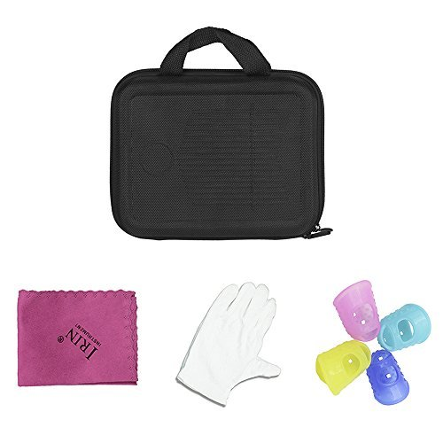 Muslady 17-Key Kalimba Case Thumb Piano Mbira Box Bag Water-resistant Shock-proof with Gloves Finger Stall Cleaning Cloth
