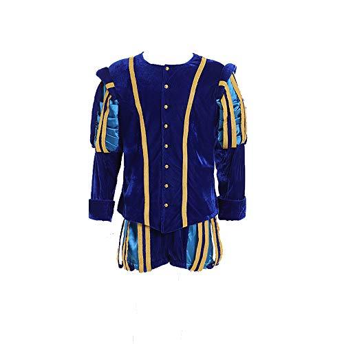 Fortunehouse Men's Renaissance Faire Costume Tudor Men Jerkin Doublet Gown Suit (XL) -