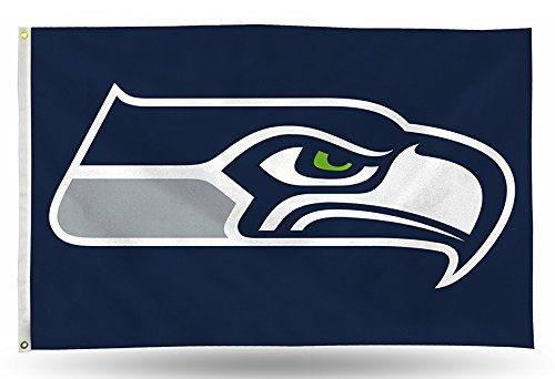 Rico NFL Seattle Seahawks 3-Foot by 5-Foot Single Sided Banner Flag with Grommets