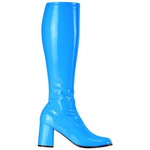 Funtasma by Pleaser Women's Gogo-300 Boot,Baby Blue Stretch