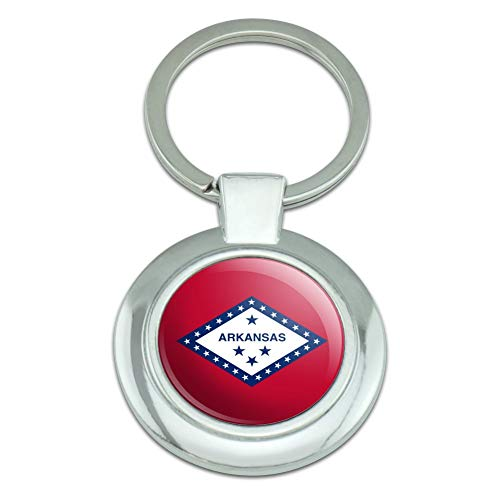 (Arkansas State Flag Classy Round Chrome Plated Metal Keychain)