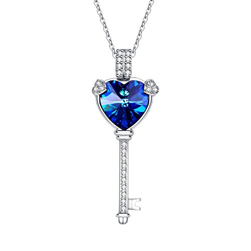 Jacqueline's Tear Jewelry Brass Pendant Necklace blue Austria Crystal 18