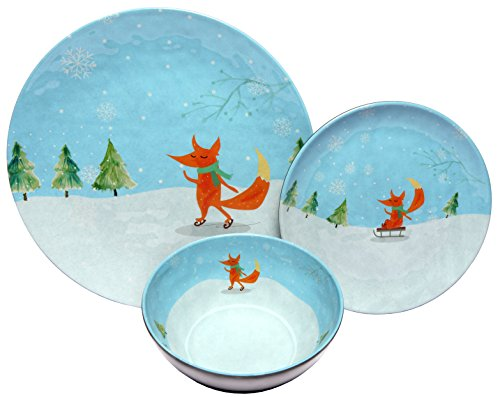 Melange 12-Piece 100% Melamine Dinnerware Set (Winter Fox Collection ) | Shatter-Proof and Chip-Resistant Melamine Plates and Bowls | Dinner Plate ...  sc 1 st  Plate Dish. & Christmas Melamine Plates. Melange 6-Piece 100% Melamine Dinner ...