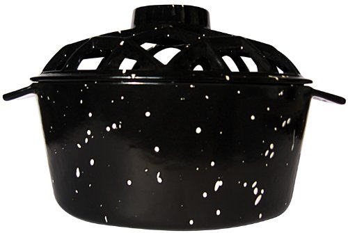 Uniflame Porcelain Coated Lattice Top Steamer- Black with White Speckles by Uniflame