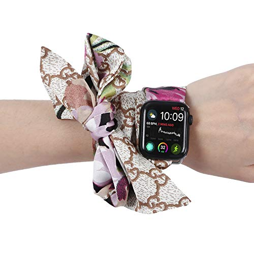 Yemoo Compatible for Apple Watch Band 38mm 40mm, 2019 New Women Fashion Ribbon Scarf Wristband Strap Bracelet for iwatch Series 4 3 2 1 38mm 40mm