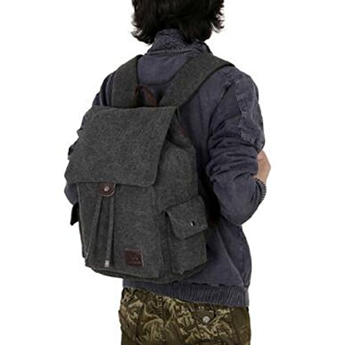 Canvas Student Shoulders Travel Girl Boy Black School Casual Vintage Computer Bag ZxOwE5CqE