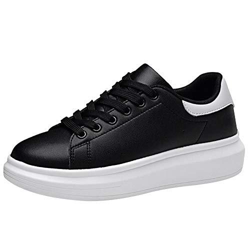 Shenn Women's Informal WildLeather Sneakers Shoes 9289(Black,6.5 M US)