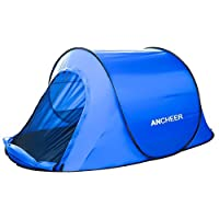 Ancheer Instant Automatic Camping Tent Double Layers 2-3 Person Quick Pop Up Waterproof Family Hiking Tent with Rainfly and Carry Bag