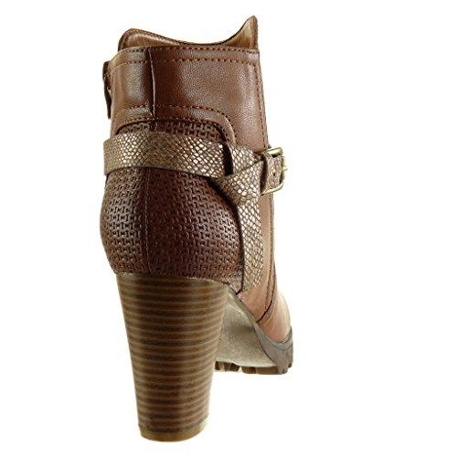 Haut Bottine BI Mode Chaussure Fourrée Cavalier Talon Serpent de Peau CM Femme Angkorly 8 Matière Lanière Boucle Bloc Camel Intérieur EABOqxpw
