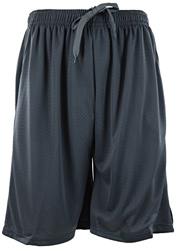 ChoiceApparel® Mens Training/Basketball Shorts with Pockets (Many Designs to Choose from) (4XL, MESH-Charcoal)