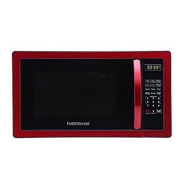 Farberware FMO11AHTBKN Classic 1000W Microwave Oven, 1.1 cu. ft., Metallic Red