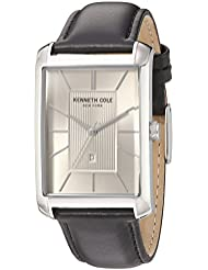 Kenneth Cole New York Mens Classic Quartz Stainless Steel and Leather Dress Watch, Color:Black (Model: 10030832)