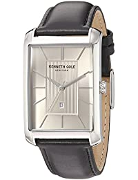 Men's 'Classic' Quartz Stainless Steel and Leather Dress Watch, Color:Black (Model: 10030832)