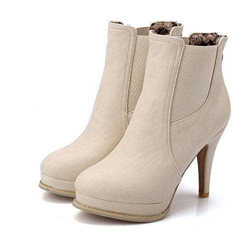 AgooLar Women's Zipper High-Heels PU Solid Low-top Boots Beige 5OHUM
