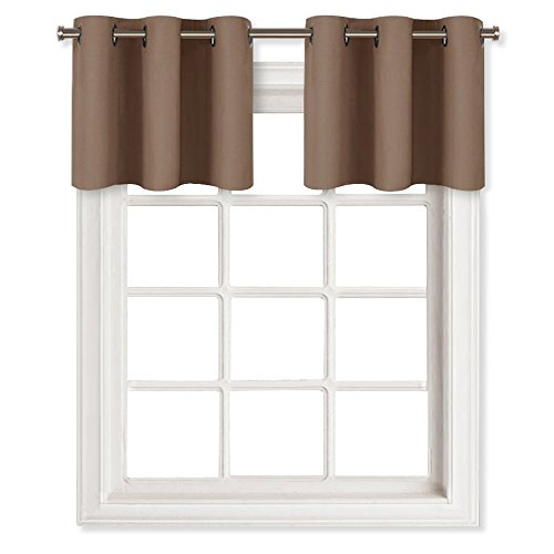 NICETOWN Short Curtains Blackout Valance for Nursery - Thermal Insulated Light Reducing Drapes for Half Window (One Pair, 29W by 14L Inches, Cappuccino)