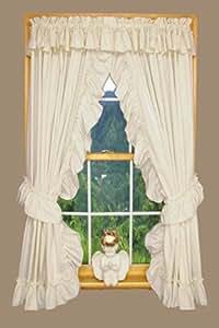 Amazon Com Heather Ruffled Priscilla Window Curtains Pair