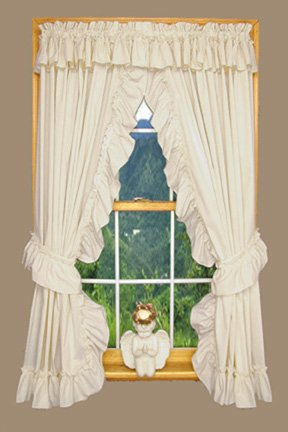 Amazon.com: Wendy Ruffled Priscilla Window Curtains Pair 92-Inch ...