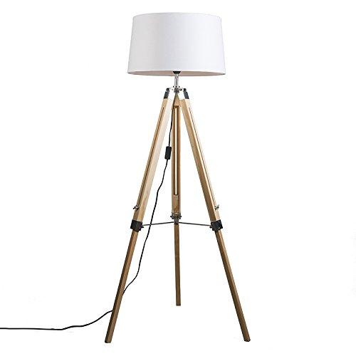 QAZQA Design / Industriel / Rétro / Lampadaire / Lampe de sol / Lampe sur Pied / Luminaire / Lumiere / Éclairage Tripod naturel avec abat-jour 45cm lin blanc Bois / Metal / Tissu / Oblongue Compatible pour LED E