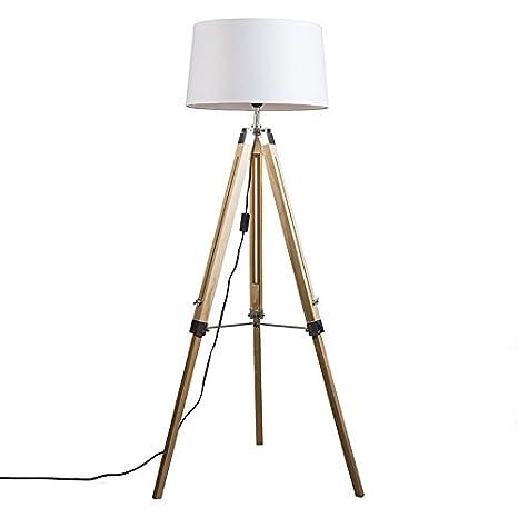 QAZQA Industrial Lámpara de pie TRIPOD natural con pantalla 45cm lino blanca Madera/Metálica/Textil Alargada Adecuado para LED Max. 1 x Watt