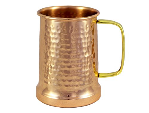 Alchemade Copper Beer Stein - 100% Pure Hammered Copper mug - Heavy Gauge - No lining 20oz (Best Things To Alch)