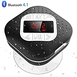 Waterproof Bluetooth Shower Speaker Radio with LED Screen, AGPTEK Portable Wireless Speaker with Redial Last Call and Handsfree Function for Bathroom, Pool, Car, Beach,Black