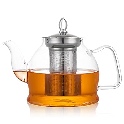 Hiware Glass Teapot with Removable Infuser, Stovetop Safe 1000 ml Blooming and Loose Leaf Tea Pot