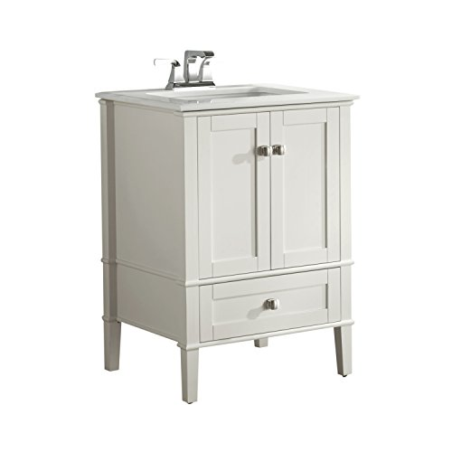 Simpli Home NL-HHV029-24-2A Chelsea 24 inch Contemporary Bath Vanity in Soft White with White Engineered Quartz Marble Top