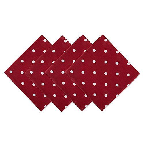 DII Z02035 Printed Polka Dot Cotton Napkin, Perfect for Dining Room, Holiday Parties, and Everyday Use, Red Base White 4 Pack]()