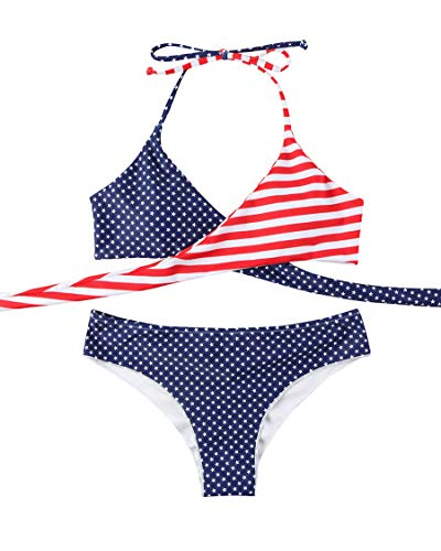 - MOSHENGQI Women Front Cross Halter American Flag Push up Bikini Set 2 Piece Cute Swimsuits (Small, American Flag)