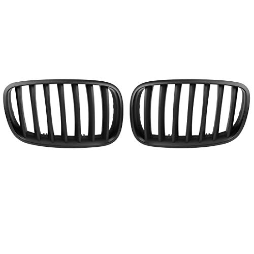 - uxcell 2pcs Matte Black Front Hood Kidney Grille Grill for 07-13 BMW E70 X5 E71 X6 4D