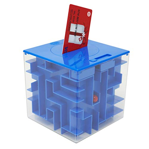 MooToys Money and Gift Card Maze Puzzle Box. Cool Brain Teasers for Kids, Boys, Girls, Teens and Adults, Perfect Gag Gifts (Blue)