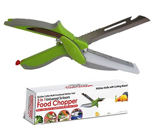 Quicker cut pro kitchen shears with built in cutting board for Kitchen pro smart cutter
