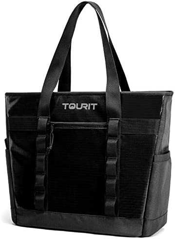 TOURIT Cooler Bag Insulated Tote Bag Soft Travel Cooler 30 Cans Large Capacity Lunch Bag for Men Women to Picnic, Camping, Beach Trip Black