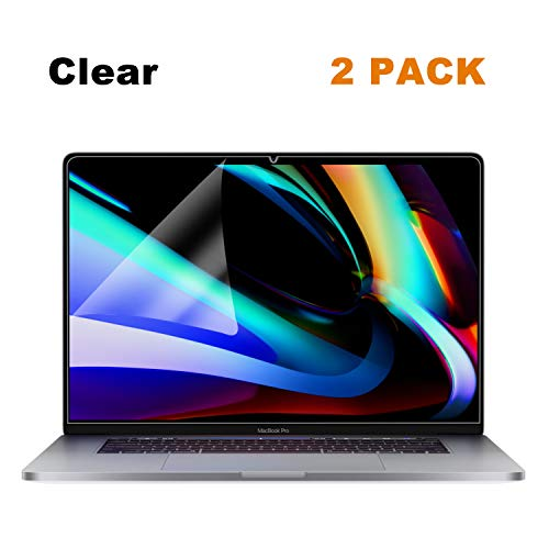 2 Pack FORITO Anti Scratch Clear Screen Protector Compatible MacBook Pro 16 Inch 2019 Released Model A2141 with Touch Bar and Touch ID