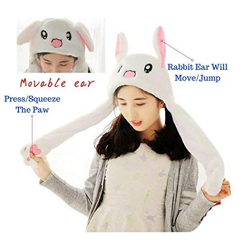 Mositto Rabbit Ear Hat Movable Costume Hat - Cute Trendy Animal Bunny White Moving Ear Jumping and Flapping Plush Head Wear for Men Women, Girls, Kids, Children, Birthday Party]()