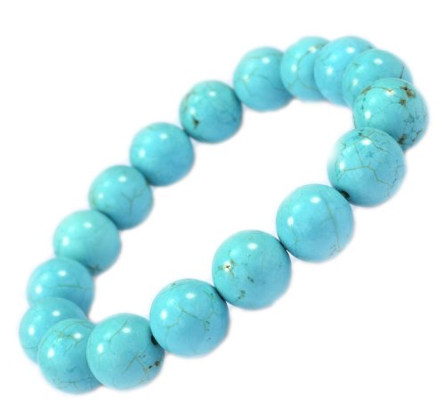 12mm Round Created-Turquoise Stone Braclet - Good for Healing and Protection - 91047