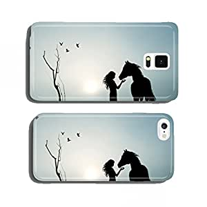 girl and horse in the fog cell phone cover case iPhone5