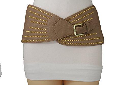 TFJ Women Fashion Wide Corset Belt Hip High Waist Taupe Beige Elastic Gold Buckle S M