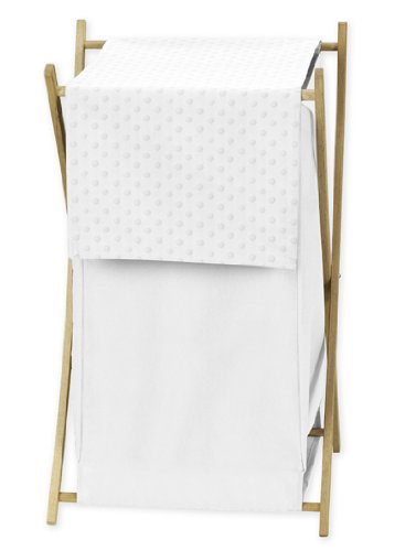 Sweet Jojo Designs Baby/Kids Clothes Laundry Hamper for Solid White Minky Dot -