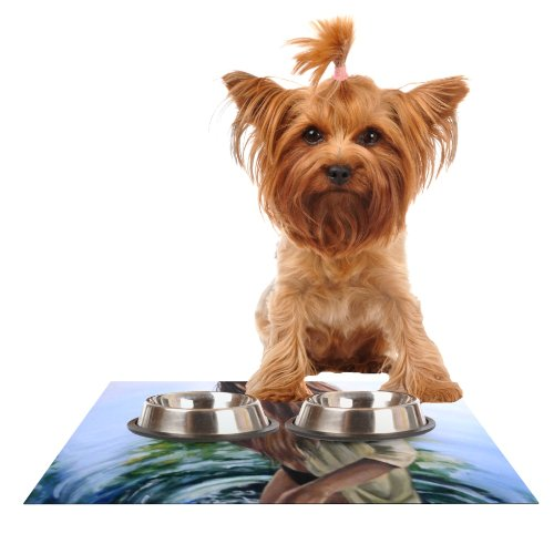 KESS InHouse Lydia Martin Knee Deep  Feeding Mat for Pet Bowl, 18 by 13-Inch