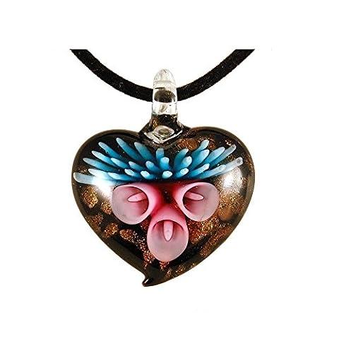 Murano Glass Lily Heart Necklace Pendant - Deep Blue Murano Glass