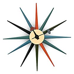 LeisureMod Maxi Modern Design Metal Colorful Star Silent Non-Ticking Wall Clock