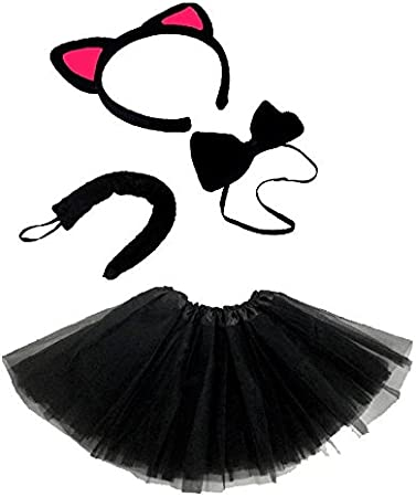 Lizzy Ladies ANIMAL FANCY DRESS TUTU with EARS BOW TAIL SET for Halloween Hen Party Fancy Outfit Tutu Skirt Angel Wings Halo Tutu Costume - White