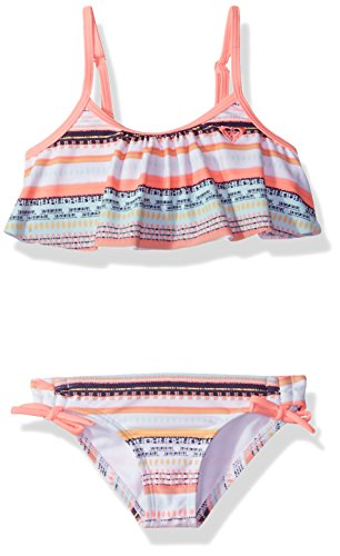 Roxy Girls' Little Indi Two Piece Flutter Swimsuit Set, Bright White Livin Dream Strip, 4